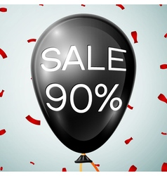 Black baloon with text sale 90 percent discounts vector