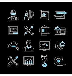 Blueprint White Blue Linear Icons vector