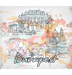 Budapest doodles with grunge vector