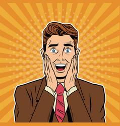 Businessman surprised pop art cartoon vector