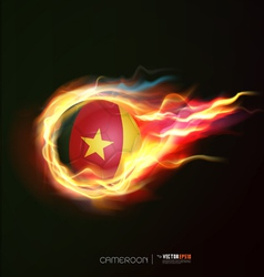 cameroon flag with flying soccer ball on fire vector image