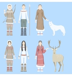 Characters eskimos women and men dressed in vector image