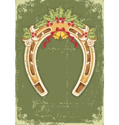 Christmas horseshoe card with holly berry leaves vector image