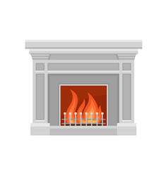 Classic stone fireplace on a vector