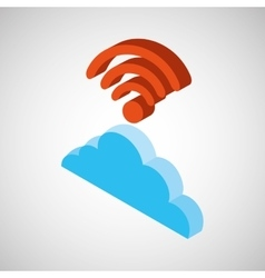 cloud wifi wireless connection design vector image