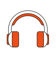 color silhouette cartoon headphones with vector image