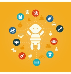 Concept flat design cute baby composition with i vector