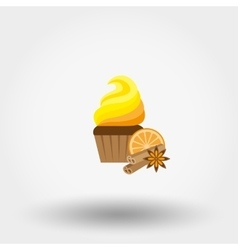 Cupcake icon flat vector