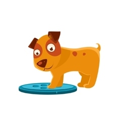 Curious Puppy Stepping On Trapdoor vector