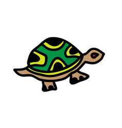 cute cartoon turtle on a white background vector image