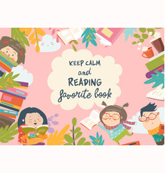 cute frame composed of children reading books vector image