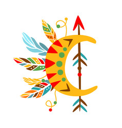 decorative object with arrow feathers and vector image