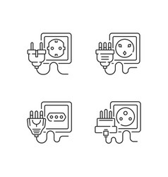 Different sockets linear icons set vector