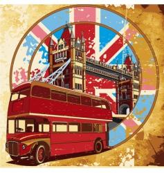 double-decker bus grunge vector image vector image