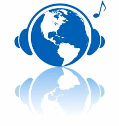 earth music world headphones vector image