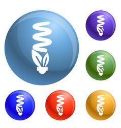 economy eco bulb icons set vector image
