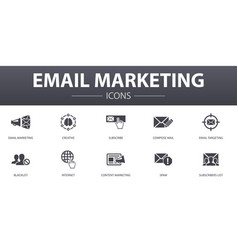Email marketing simple concept icons set contains vector