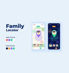 family locator cartoon smartphone interface vector image