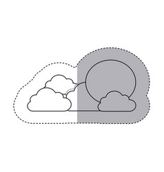 Figure sun with clouds icon vector