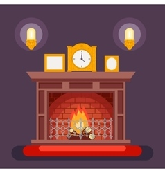 Fireplace Evening Discussing Concept Icon vector