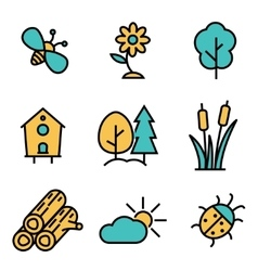 flat line nature icons set vector image