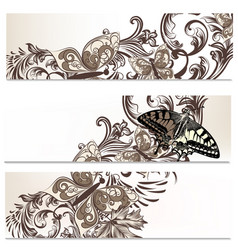 floral brochures set with butterflies vector image