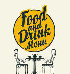food and drink menu with a table for two vector image