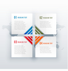 Four steps white infograph design for web or vector