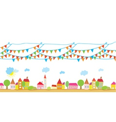 Funny house and flags background vector