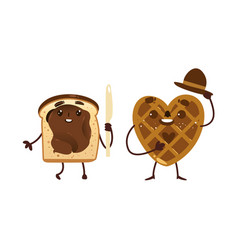 Funny waffle and toast with chocolate spread vector