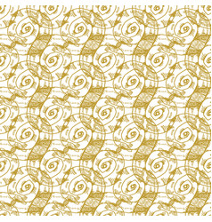 Golden sketch seashell decor seamless pattern vector