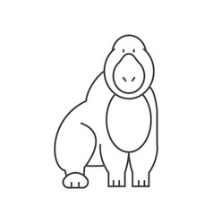 gorilla line icon sign on vector image