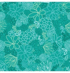 Green succulents seamless pattern background vector image