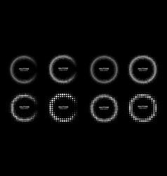 halftone set circle frame dots logo emblem vector image