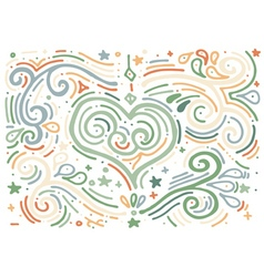 Hand drawn vintage print with decorative heart vector