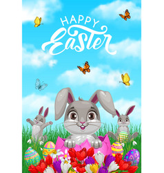 Happy easter celebration greeting card vector