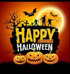 happy halloween message design with pumpkins vector image