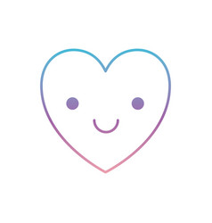 Heart kawaii in smiling expression in degraded vector