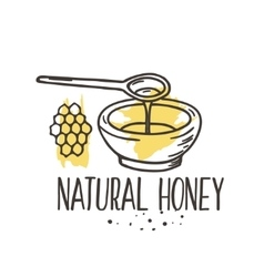 honey background Bio hand drawn set vector image vector image