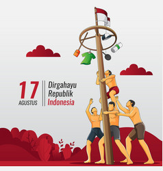 Indonesian independence greeting card with people vector