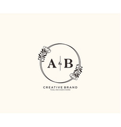 Initial ab letters hand drawn feminine and floral vector