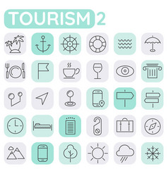 Inline tourism icons collection trendy linear vector
