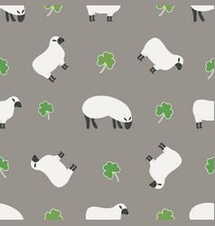 irish shamrock clovers sheep pattern vector image