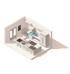 isometric low poly professional kitchen vector image
