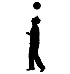 Juggling trick with ball silhouette soccer juggler vector
