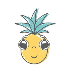 Kawaii cute shy pineapple vegetable vector