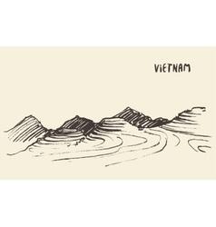 landscape rice fields mu cang chai vietnam vector image