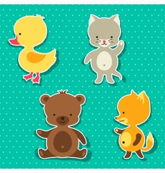 Little cute baby cat bear fox and duck stickers vector