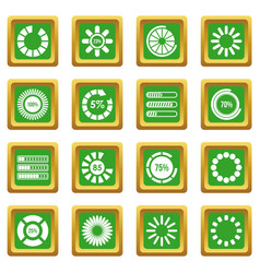 Loading bars and preloaders icons set green vector