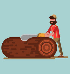 Lumberjack chopping the tree with chainsaw vector